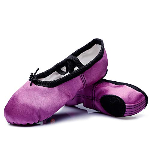 MSMAX Girls Ballet Shoes Satin Performa Dance Slippers for Kids Purple 8 M US Toddler