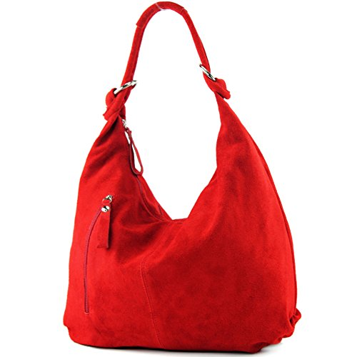 modamoda de Borsa in pelle Borsa in pelle Hobo Borsa in pelle vera pelle grande T158, Colore:rosso