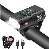 WINDFIRE Luce per Bici USB Ricaricabile, Bicicletta a LED Impermeabili Luce Anteriore e Fanale Posteriore, 6 modalità di Illuminazione per Tutte Le Biciclette Montagna/Strada di Notte