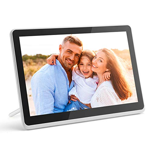 Digital Photo Frame WiFi Digital Picture Frame kimire 1920x1080 Touch Screen, Support Thumb USB Drive and SD Slot, Music Player, Alarm Clock, Share Photo and Video via APP, Cloud, Email(10inch White) Digital Frames Picture