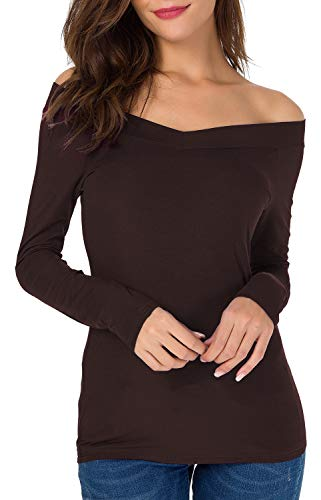 Sarin Mathews Womens Off The Shoulder Long Sleeve Tops Slim Fit Blouse Shirts Chocolate M