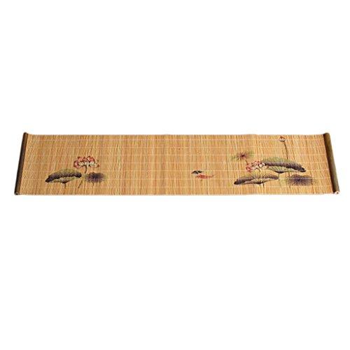 Serenable impressão de bambu tapete de chá zen corredor da tabela copo bule cerimônia de chá - dia do lótus # 1 do dia