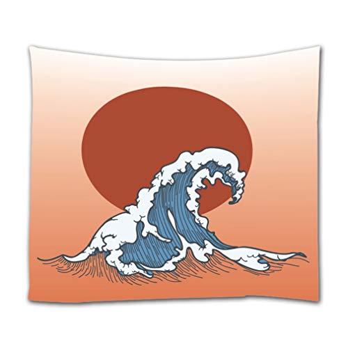 A.Monamour Wandteppiche Aquarell Wellen Im Japanischen Stil Ozean Sturm Große Rote Sonne Kunst Dekor Textil Stoff Wandbehang Tapisserie Gardinen Tischdecke Tagesdecke Strandtuch Für Zuhause 180x200cm