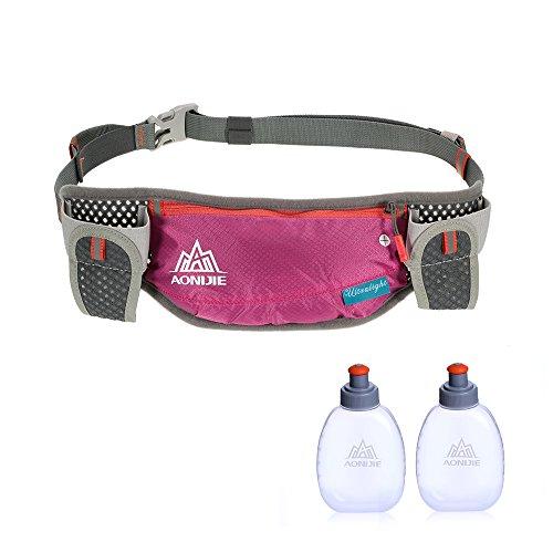 Lixada Trinkgürtel Laufgürtel, Sports Taillen Pack mit Zwei 170ml Wasserflasche, Vollstandig Einstellbar Laufen Marathon Taillenpaket, Herren & Damen