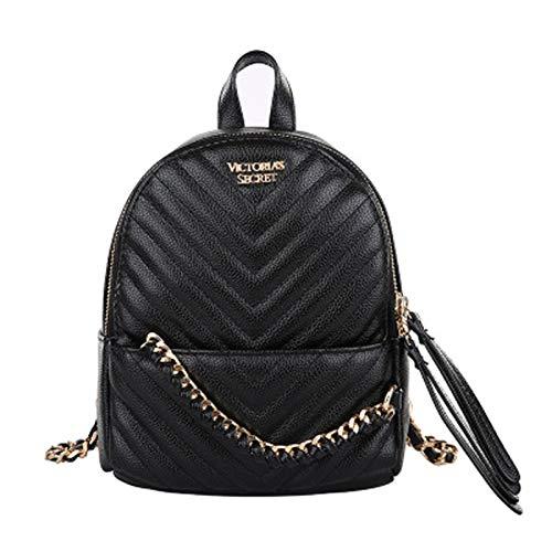 qwerasdf ladies backpack PU leather backpack school bag fashion zipper small rucksack travel backpack (black, 19*23*11cm)