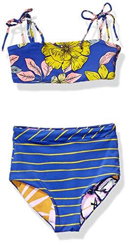 Maaji Girls' Bralette with High Waist Bikini Swimsuit Set, Lorelei Marlin Blue Floral, 8