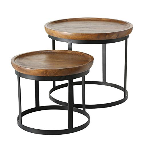 Iron and Wood Rounded Edge Nest Tables
