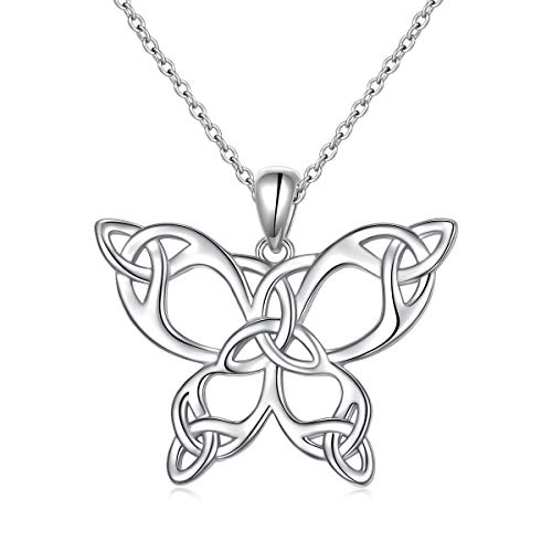 Daochong 925 Sterling Silver Celtic Jewelry Celtic Butterfly Necklace for Women, Butterfly Lovers Birthday Valentine's Day Gifts