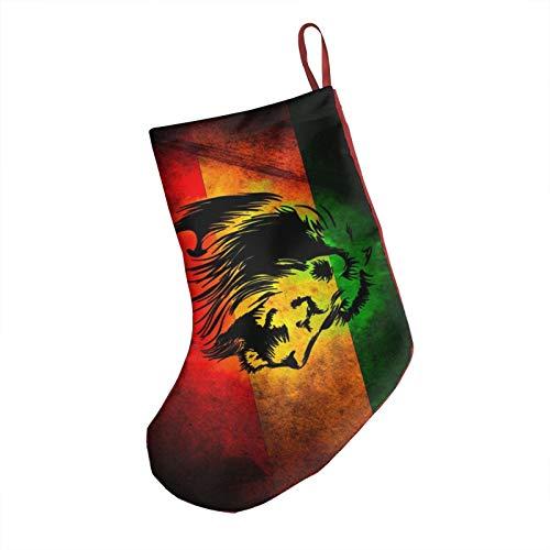 Lion Christmas Stockings, 18' Big Xmas Stockings, Polyester Classic Plush Mercerized Velvet Stockings Santa Gift for Family Holiday Xmas Party Decorations