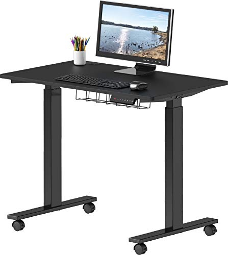 SHW Rolling Electric Height Adjustable Standing Desk, 40 x 24 Inches, Black