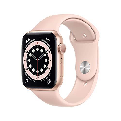 Novità AppleWatch Series6 (GPS, 44mm) Cassa in alluminio color oro con Cinturino Sport rosa sabbia