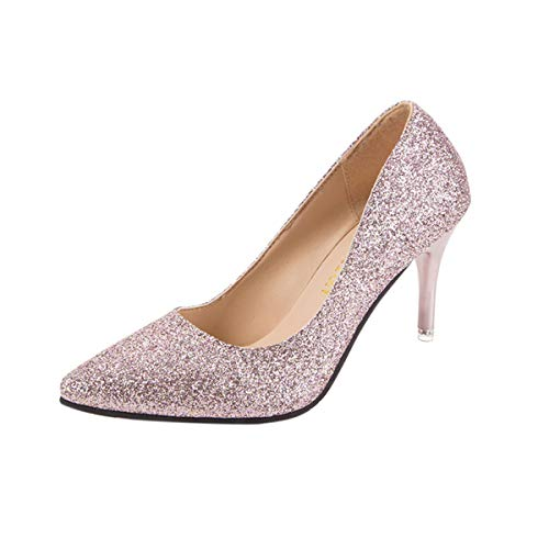DEBAIJIA Damen Klassische Pumps 6CM Pfennigabsatz Glitzer Hochzeit Party Schuhe Pailletten 38.5 EU Pink (Etikettengröße-40)
