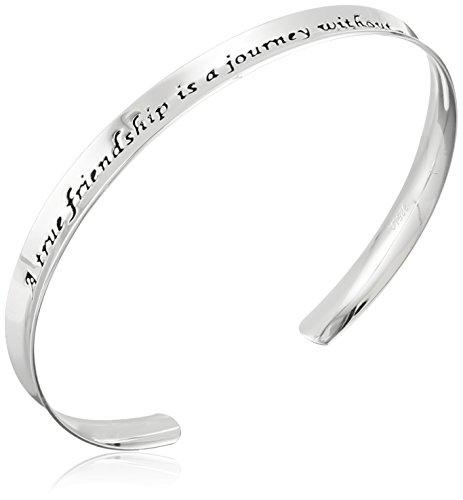 Sterling Silver A True Friendship Concave Cuff Bracelet
