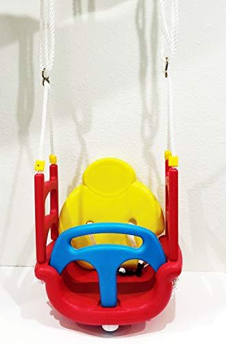 Izzy Baby-Schaukel 3-in-1 mitwachsend rot-blau Babysitz Kleinkind-Schaukel Hängesitz Babywippe Kinder Garten Babyschaukel 3in1