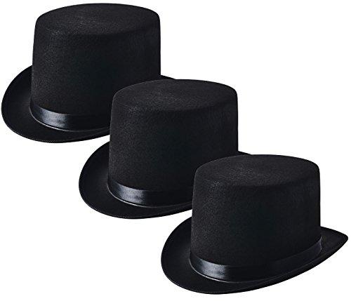 NJ Novelty - Black Felt Top Hat, Costume Dress Up Party Hat, Set of 3