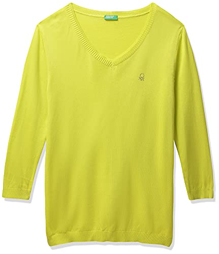 United Colors of Benetton Women's Casual Cotton Sweater (20A1092D3730I_Lime Green_L)