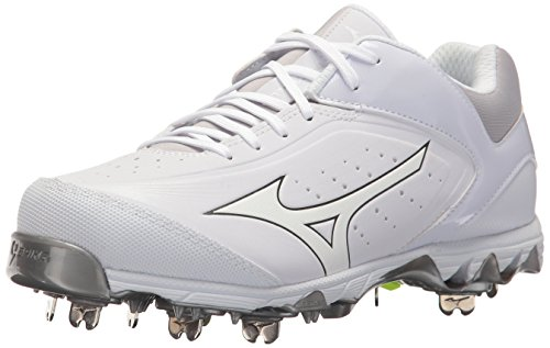 Mizuno Women's Swift 5 Fastpitch Cleat Softball Shoe, White/White, 5.5 B US