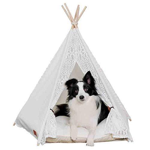 XUSHEN-HU Tienda de campaña de encaje blanco para mascotas, casa de perro, cama para mascotas, tienda de campaña de madera, perrera de perro, casa con colchoneta suministros para mascotas
