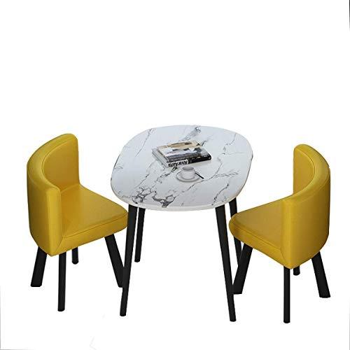 Cxcdxd Juego de Comedor de 3 Piezas, pequeña Mesa de Comedor y 2 sillas, Cocina, Desayuno, Comedor, Mesa de Cocina Mid-Century con Tubo de Madera, Tapa Ovalada para el Patio de la Oficina en el Hog