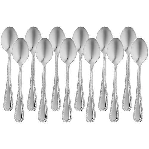 AmazonBasics - Juego de 12 cucharillas de café de acero inoxidable con borde perlado