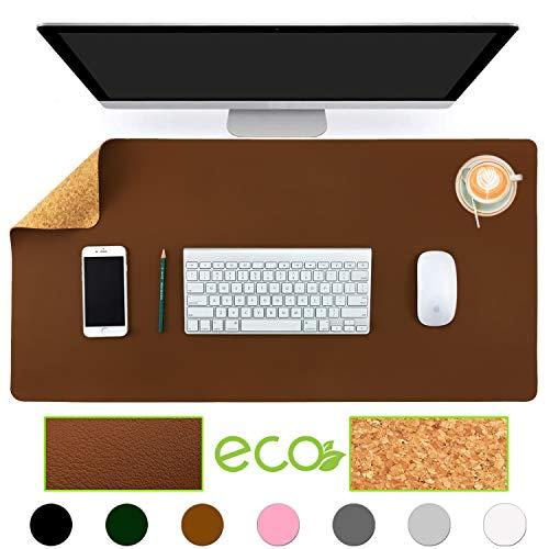 Aothia umweltfreundliche Naturkork & Leder doppelseitige Schreibtischunterlage 80*40cm Mauspad glatte Oberfläche weich einfach sauber wasserdicht PU-Leder Schreibtischschutz für Büro/Heimspiele(Braun)