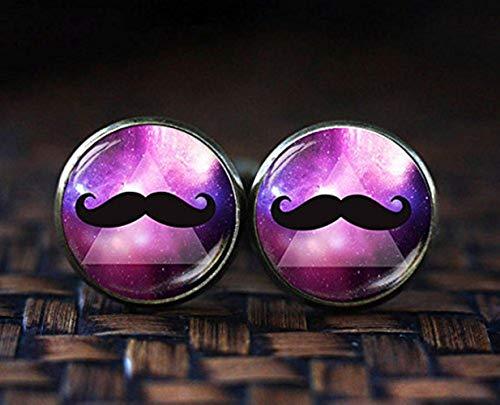 Hipster Moustache Moustache Boutons de manchette, boutons de manchette, Space Nebula Galaxy Moustache Boutons de manchette