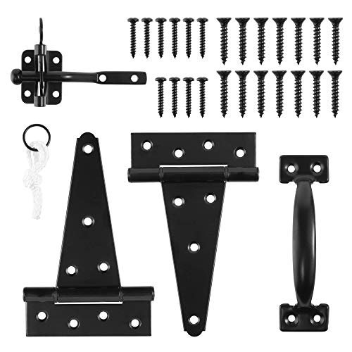 Heavy Duty Gate Hardware Kit,with Self Locking Gate Latch,2 PCS 6inch T-Hinges,1 PC 6.5inch Gate Handle