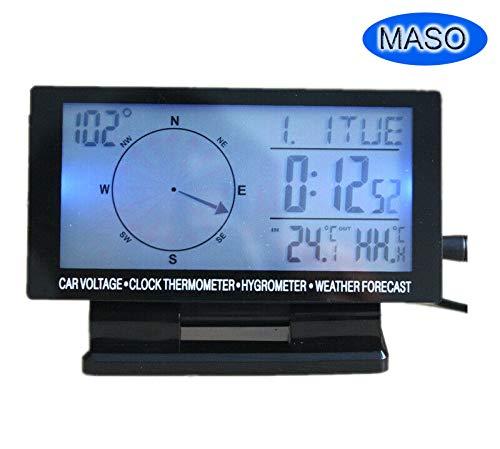 MASO Multifunktion Digital LCD Ewiger Kalender, Auto Kalender KFZ Outdoor Kompass Thermometer, 5 IN 1 Digital Uhr,Hintergrundbeleuchtung 8V-24V