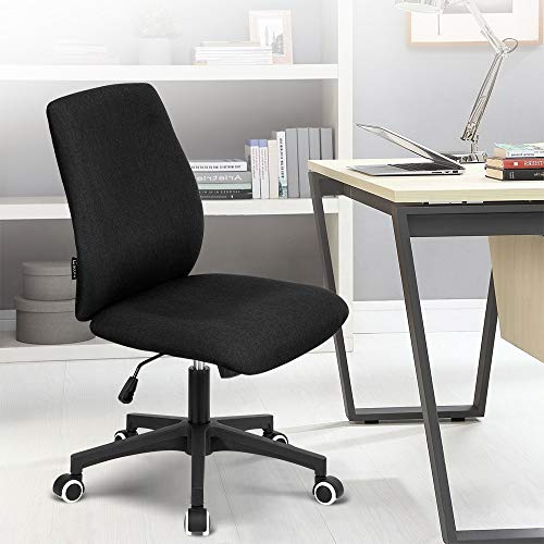 Okeysen Office Desk Chair, Ergonomic Mid Back Armless Task Studio Chair, Fabric Swivel Computer Chair Without Arms. (Black)