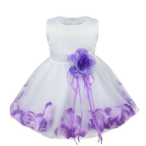 Freebily Vestido de Princesa Bautizo Cumpleaños Vestido Infantil Elegante Pétalos de Flores para Bebé Niña (3 a 24 Meses) Morado 9-12 Meses