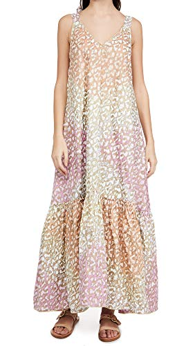 Juliet Dunn Women's V Neck Maxi Dress, Orange/Yellow/Pink, One Size