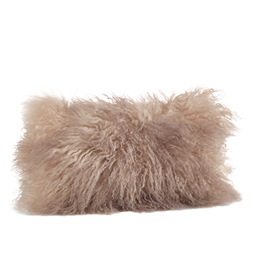 SARO LIFESTYLE 100% Wool Mongolian Lamb Fur Throw Pillow with Poly Filling, 12' x 20', Oyster