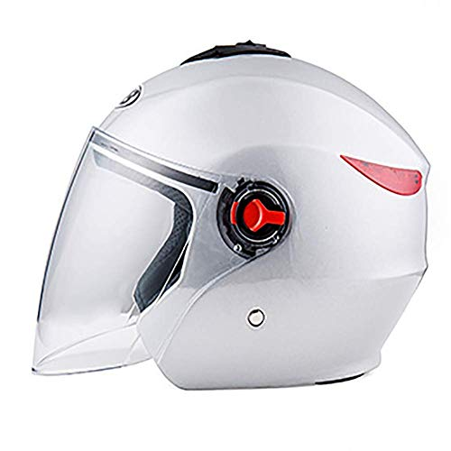 XTGFDC Motorfiets Half Open Gezicht Helm, met Veiligheid Achterlichten Flip Up Zonnekap Verstelbare Grootte, Zomer Ademende Volwassenen Mannen & Vrouwen Halve Helm, Zwart, Mat Zwart, Wit (57-62Cm)