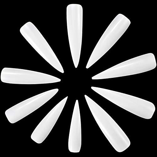ANEWISH 500 Stück Weiß Künstliche Fingernägel Falsche-Fingernägel Kunstnagel Nagel Fake Nägel Nagelspitzen für DIY-Nagelkunst und Nagelstudios, 10 Größen