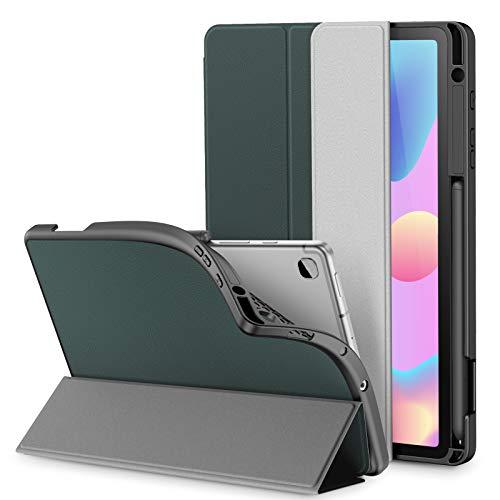 INFILAND Funda para Galaxy Tab S6 Lite con S Pen Holder, Delgada TPU Case Smart Cascara con Auto Reposo/Activación Función para Samsung Galaxy Tab S6 Lite 10.5 P610/P615,Verde Oscuro
