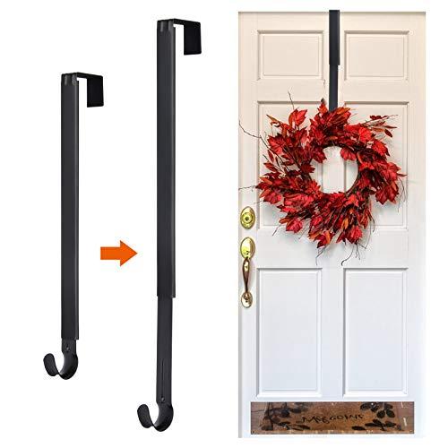 Kederwa Adjustable Wreath Door Hanger, Metal Wreath Hooks Over The Door from 14.9-25 Inch, Halloween Wreath Holder for Fall Christmas Thanksgiving Wreath Decor