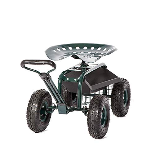 Peach Tree Garden Cart Rolling Work Seat with Tool Tray Heavy Duty Scooter Gardening Planting