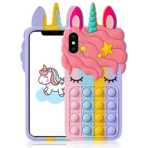 """Mulafnxal Custodia per iPhone X/XS 5.8"""",Cartone Animato Carino Divertente Moda Morbida,Fidget Protettivo Antiurto Cover Casi per Bambini Ragazze Ragazzi per iPhone X/XS(Color Unicorn)"""