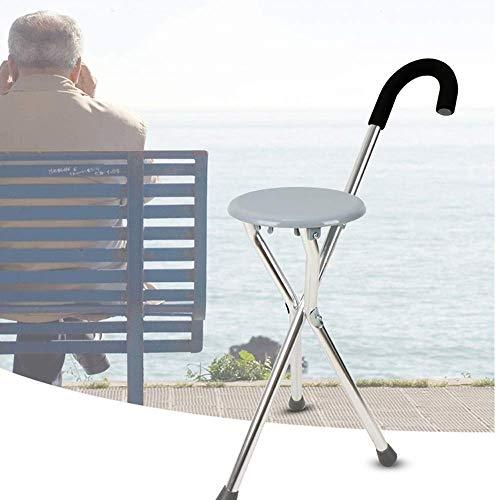 Shuban Outdoor Travel Folding Adjustable Walking Aluminium Stick with Seat for Elderly