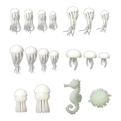 yasu7 18 moldes de resina epoxi de relleno de medusa, relleno de caballitos de mar, modelo de relleno de pez globo de mar, bricolaje manualidades y joyería