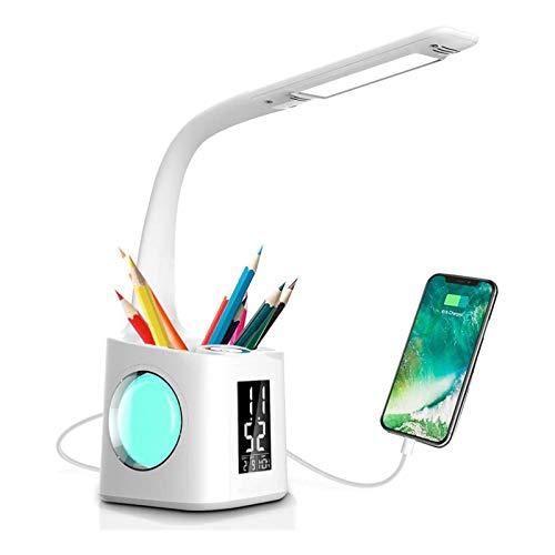 Lámpara de Escritorio, lámpara de Estudio LED, lámpara de Mesa para el Cuidado de los Ojos, Reloj, luz de Escritorio, luz Regulable Continua para el hogar, Trabajo, Lectura, lámpara de Oficina