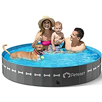 Peteast Foldable Dog Swimming Pool 64   Portable Dog Pet Bath Pool PVC Plastic Anti-Slip Collapsible Kiddie Pool Dog Pet Bathing Tub for Dogs Cats and Kids