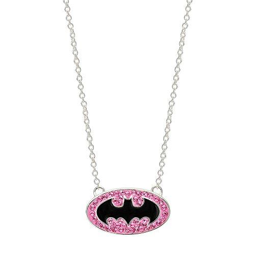 DC Comics Batgirl Silver Plated Black Logo Rose Crystal Pendant, 18'