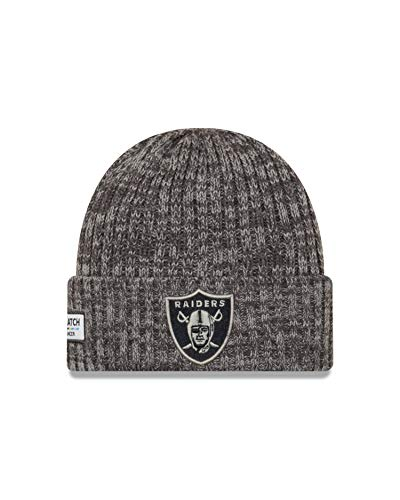 New Era Oakland Raiders Beanie - NFL 2019 On Field Crucial Catch Knit - Graphite - One-Size
