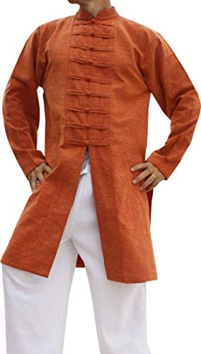 Svenine Chinese Collar Mens Long Naval Jacket Many Button Tai Chi Cotton, XX-Large, Stonewashed Cotton - Orange Brown