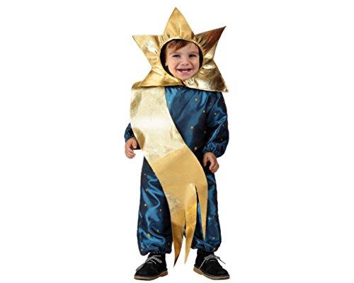 Atosa-17257 Atosa-17257-Disfraz Estrella niño bebé-talla 6 a 12 meses dorado-Navidad, color (17257)