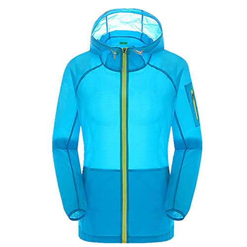 Protección Cremallera ligera con capucha anti-UV Ropa de protección solar Chaqueta de secado rápido Capa de la piel para correr Ciclismo Pesca Pesca ( Color : Sky-blue , Size : X-Large )