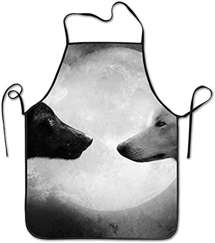 Star Harbor Unisex Impermeable Duradera Cuerda De Borde Bloqueado Ajustable Fácil Cuidado Para Hombres Y Mujeres Delantal De Cocina-lobo Blanco Negro E, Delantales De Caballo