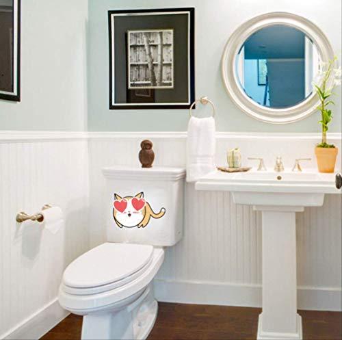 Autocollants De Siège De Toilette Funny Cartoon Cat Art Wall Decal Salle De Bain Décor 25 * 19Cm
