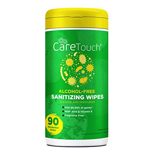Care Touch - CTAFWC90US-VC Alcohol-Free Hand Sanitizing Wipes - 1 Canister | 90 Antibacterial Wipes with Vitamin E + Aloe Vera | Made in The USA